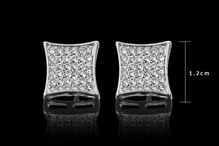 2017 Por Hip Hop Bling Crystal Stud Earring Brand Geometric Imitation Silver Color Earrings For Men Dress Freeshipping 13mm In From