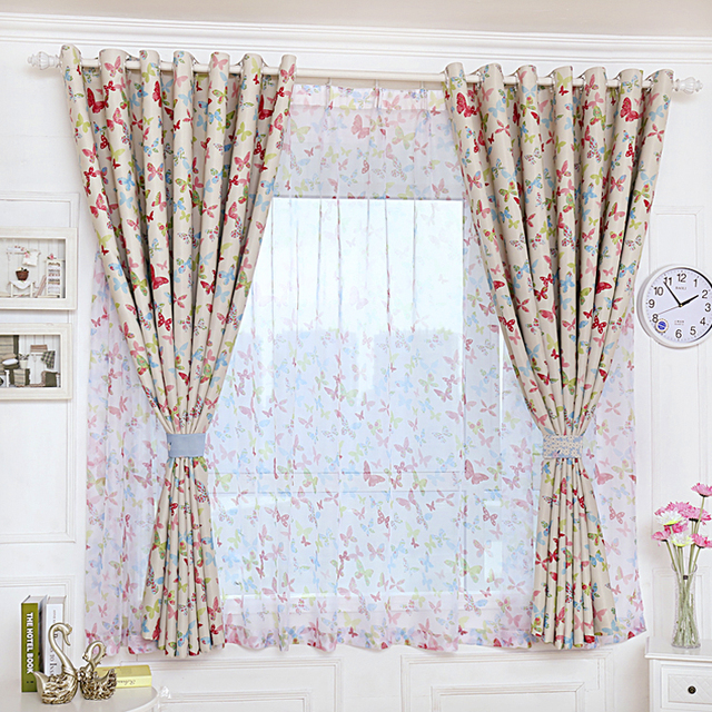 Rustic Pastoral Window Curtain For Kitchen Blackout Curtains Pink Butterfly  Window Drape Panels Treatment Home Decor