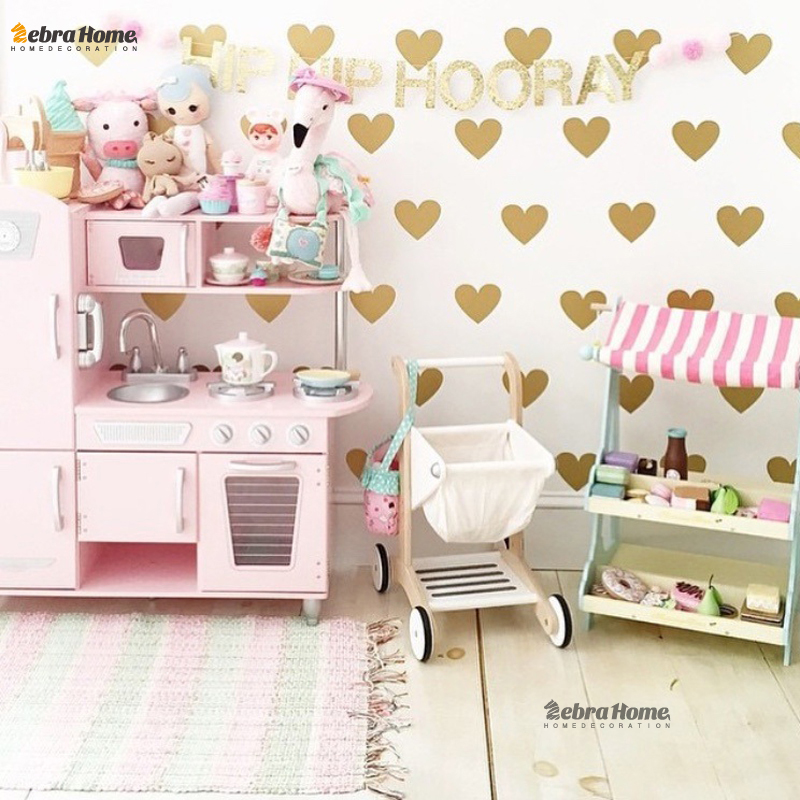 Gold Heart Wall Sticker Baby Nursery Stickers Children Removable Wall Decals Home Decoration Art