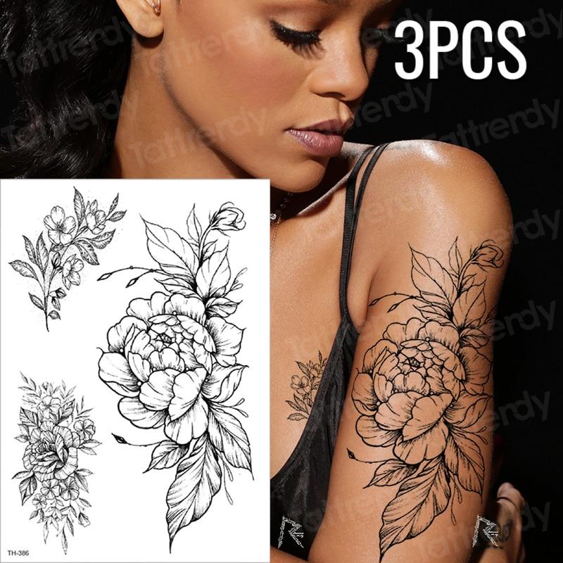 3pcs/lot Fake Tattoos Stickers Arabic Temporary Tattoo Arm Sleeves Tattoo Black And White Sketch Flower Design Body Art Tattoo