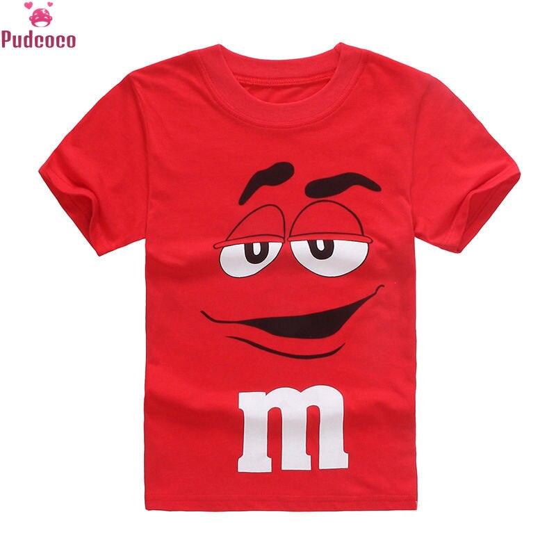 Pudcoco 2019 Kids Boys Cartoon Chocolate Little Men Letter M Cotton T-Shirt Summer Short Sleeve Tee Shirt Children