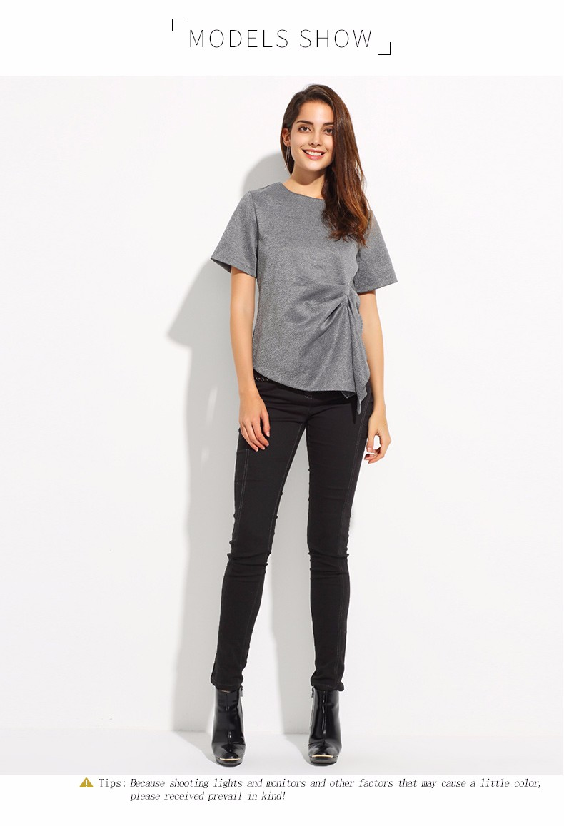 Short Sleeve O-Neck Irregular Pleated Top T-shirt 1