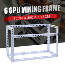 DIY Steel Stackable Miner Frame Case 6GPU Mining Rig Frame 70cm*30cm*45cm for Bitcoin BTC Mining Crypto Machine White