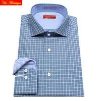 Male Long Sleeve Casual Dress Shirts Men S Big Plus Size JASPE Plaid Shirt Blue Checked