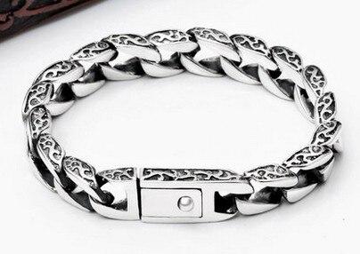 Rich s925 silver male buckle clip bracelet thai silver vintage silver jewelry wristiest wholesale s925 sterling silver personalized jewelry retro thai silver male smooth side buckle bracelet