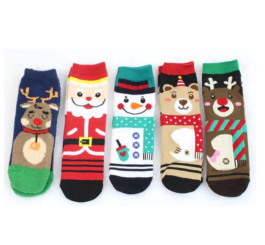 Boy And Girl Children Sock Cotton Christmas Socks 1 Pair Children Striped Terry Snowflake Elk Santa Claus Christmas Bear