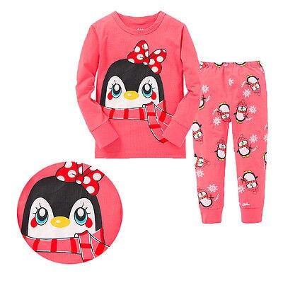 2016 Hot-selling Baby Kids Child Girls Outfits Cute Cartoon Penguin printed Sleepwear Tracksuits Pajamas Set Nightwear Clothing