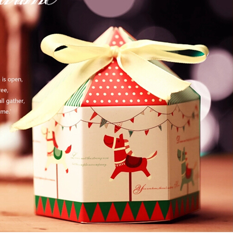(10 Pieces/lot) Merry-Go-Round Candy Box With Ribbon Hexagon Design Carousels Christmas Cookie Boxes Birthday Shower Favors B014