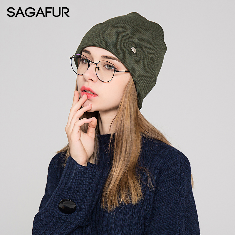 Soft Warm Knitted Hat Women's Winter Cap 2019 New Brand Bonnet Hat Female Casual Plain Hat For Girls Beanies With Iron Label
