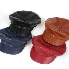 Moda Pu de couro de Alta Qualidade Tampas para As Mulheres Primavera Outono Inverno  Chapéus de e9a8b29bdf8