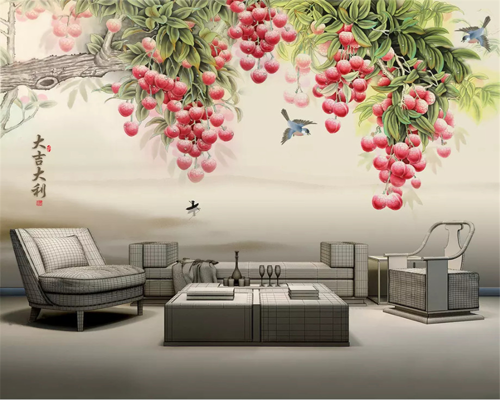Beibehang Classic Personality Silk Cloth Wall Paper Hand Drawn Oil Painting Fruit Tree Tv Sofa Background 3d Wallpaper Mural Wallpapers Aliexpress