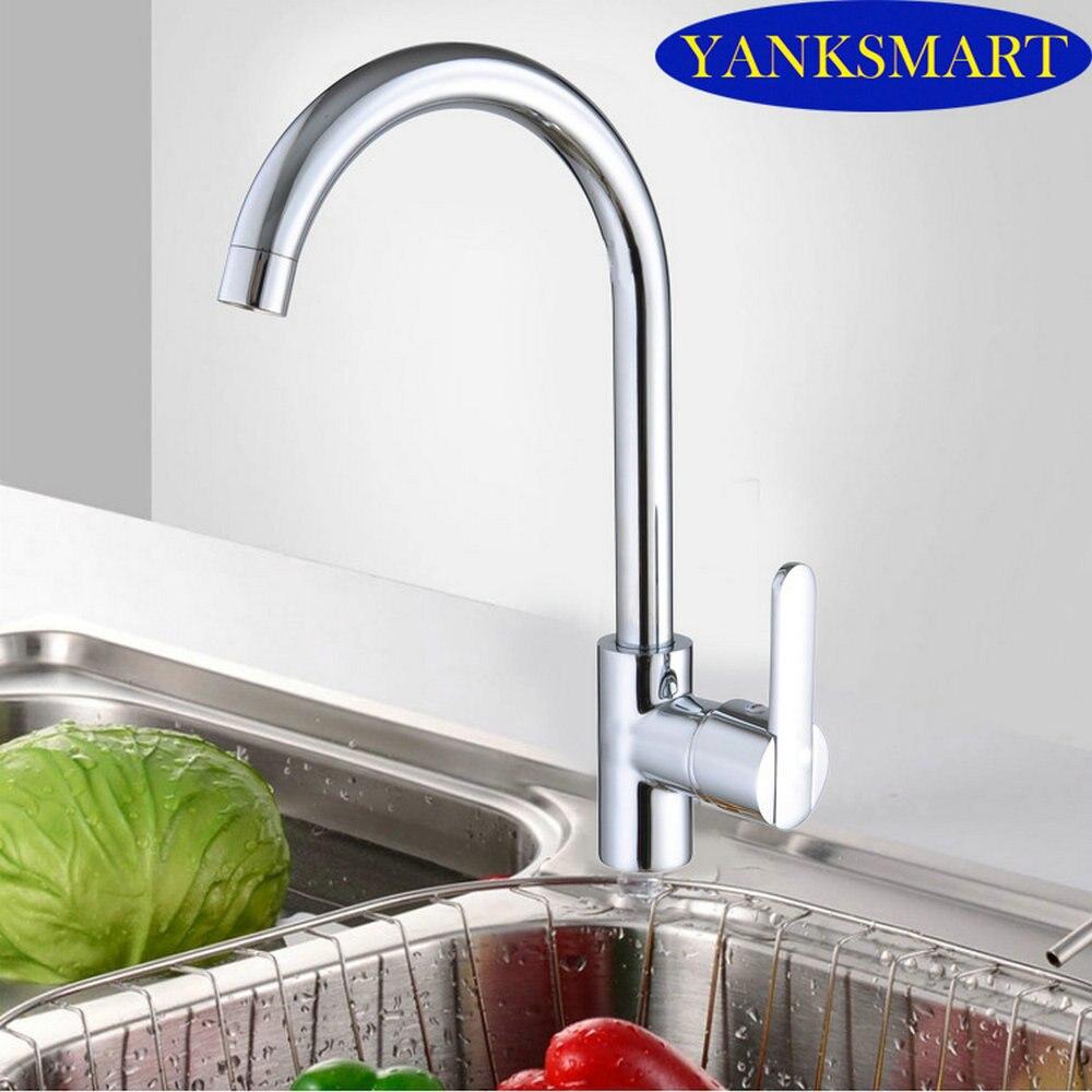 360 Swivel Spout Vessel Kitchen Sink Faucet Deck Mount Mixer Tap Modern New Polish Chrome Kitchen