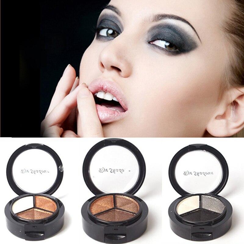 Los nuevos cosméticos colorido three-color de sombra de ojos ahumado natural pal