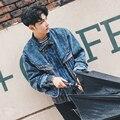 Primavera inverno retro tendência da moda jaqueta jeans mens high street denim casaco jaqueta jeans dos homens de alta qualidade ocasional solto W211