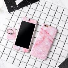 Мраморный Случаи ТПУ Чехол протектор + закаленное стекло экрана протектор + кольцо чехол для Apple iPhone 6 6S плюс 7 7 Plus чехлы