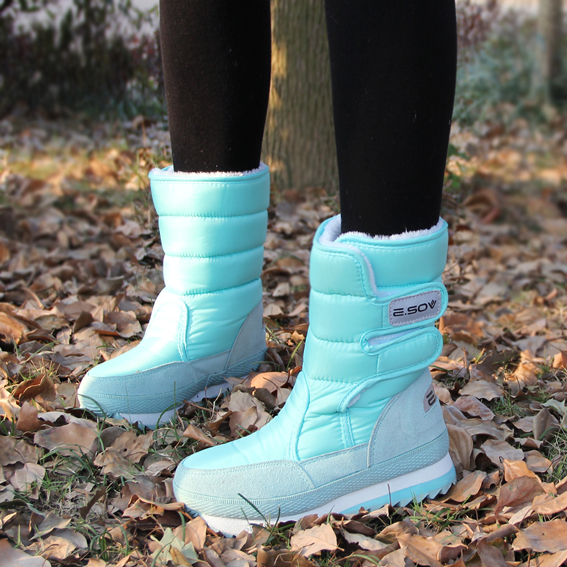 Image 5 - 冬のブーツの女性の雪のアンクルブーツ女性ホワイトレディースシューズパンプスぬいぐるみインソール防水の靴暖かいボタ Feminina    グループ上の 靴 からの アンクルブーツ の中