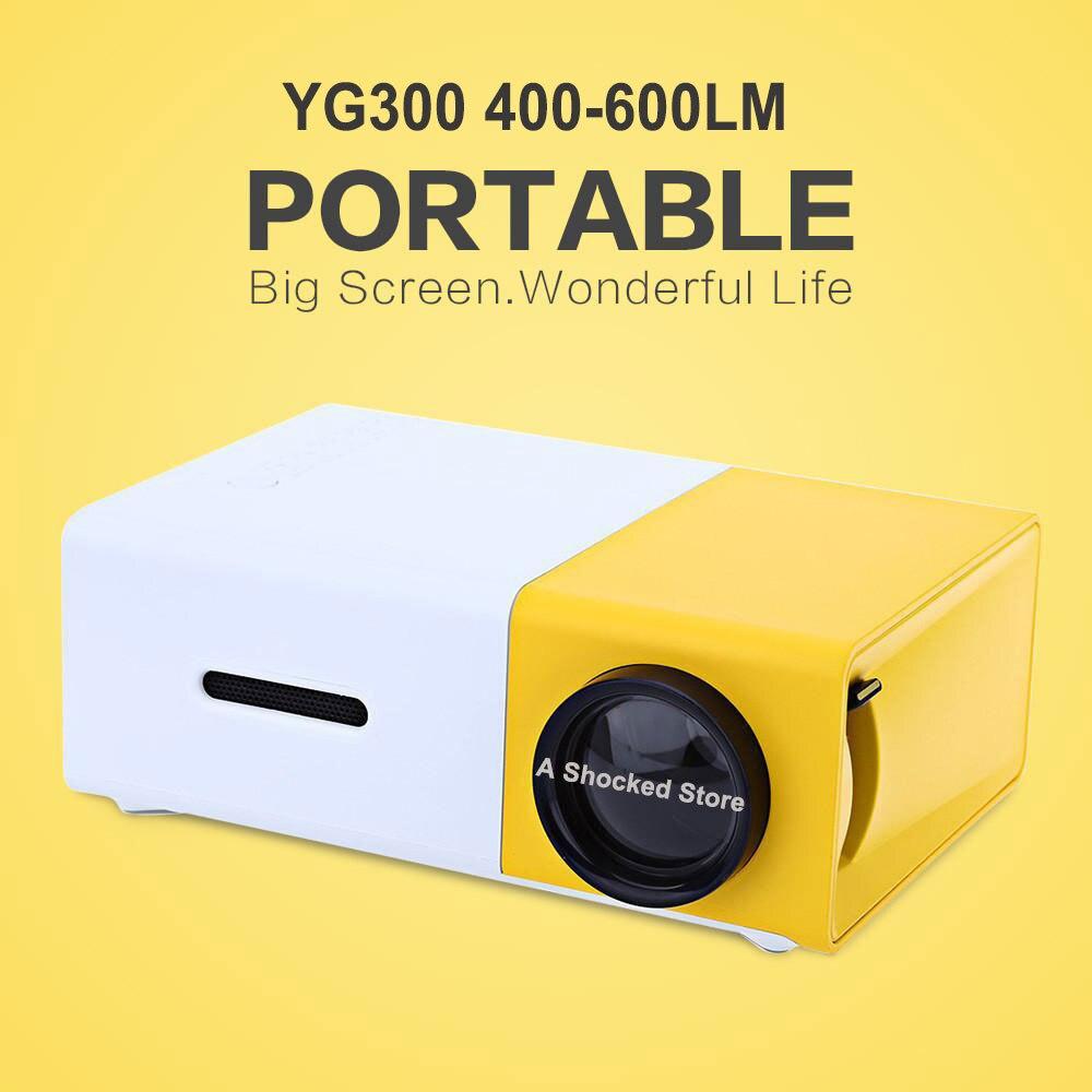 Дропшиппинг yg300 светодиодный Портативный проектор 400-600lm аудио 320x240 Пиксели yg-300 HDMI USB Мини проектор Главная media player