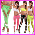 New Hot Sexy Women Ripped Skinny Leggings With Hole Candy Color Stretchy Pencil Pants Legging