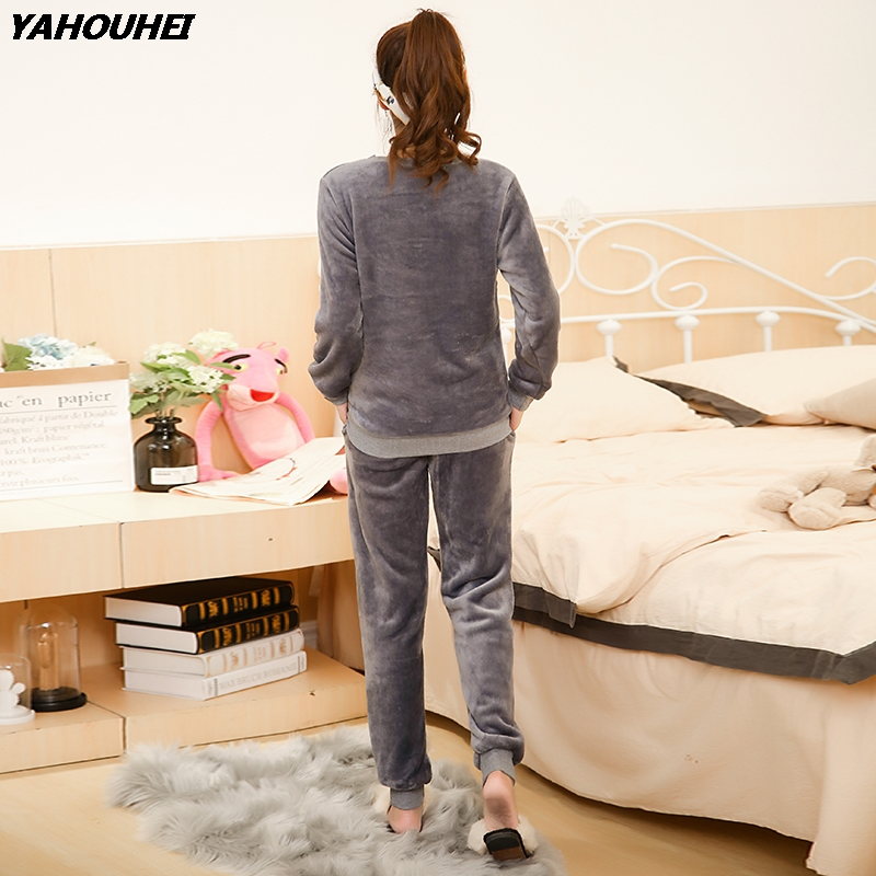 2019 Winter Thick Warm Flannel   Pajama     Sets   For Women Soft Coral Velvet Sleepwear Girl Pyjama Pijama Mujer Homewear Home Clothing