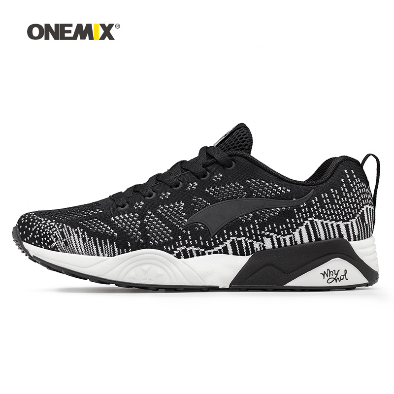 Onemix Man Running Shoes for Men Black Knit Pattern Mesh Air Breathable Designer Jogging Sneakers Outdoor Sport walking Trainers onemix woman running shoes for women white mesh air breathable designer jogging sneakers outdoor sport walking tennis trainers