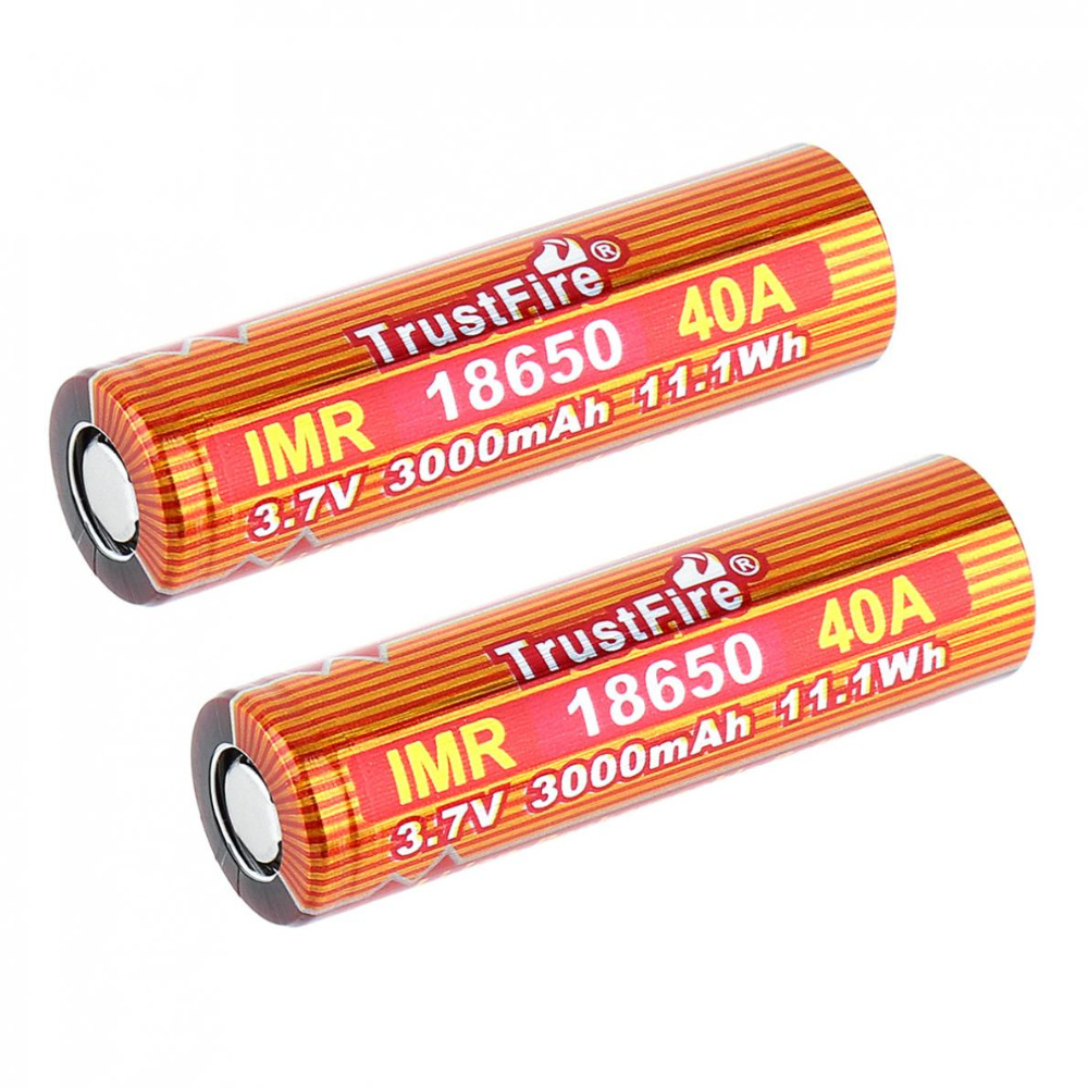 2pcs/lot TrustFire IMR 18650 3.7V 40A 3000mAh Li-ion Rechargeable Battery with Safety Relief Valve for LED Flashlight