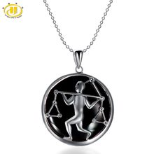 Hutang Libra Zodiac Pendant Natural Black Jade 23mm Solid 925 Sterling Silver Necklace Women's Men's Fine Jewelry Birthday(China)