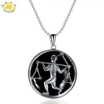Hutang Libra Zodiac Pendant Natural Black Jade 23mm Solid 925 Sterling Silver Necklace Women's Men's Fine Jewelry Birthday