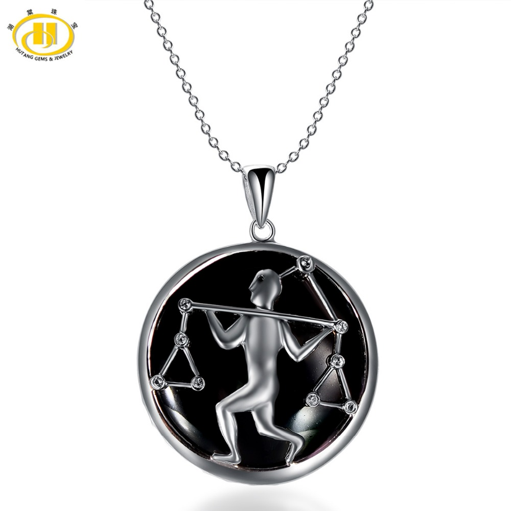 Hutang Libra Zodiac Pendant Natural Black Jade 23mm Solid 925 Sterling Silver Necklace Women's Men's Fine Jewelry Birthday