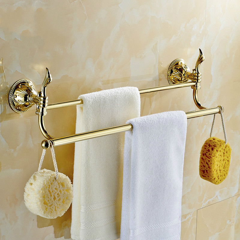 European Gold Brass Towel Bar Antique Double Layer Polished Towel Holder Towel Rack Bathroom Shelf Bathroom Accessories Products aluminum wall mounted square antique brass bath towel rack active bathroom towel holder double towel shelf bathroom accessories