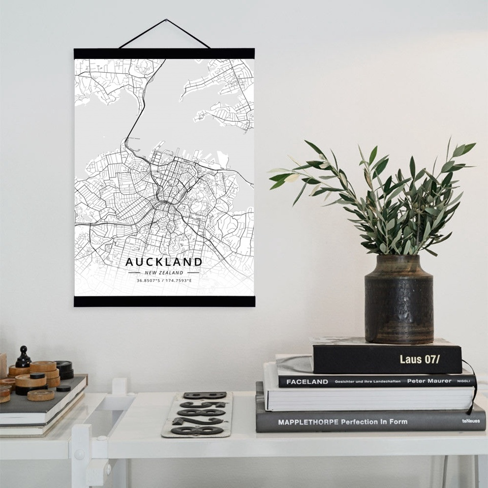 City Map Wooden Framed Canvas Painting