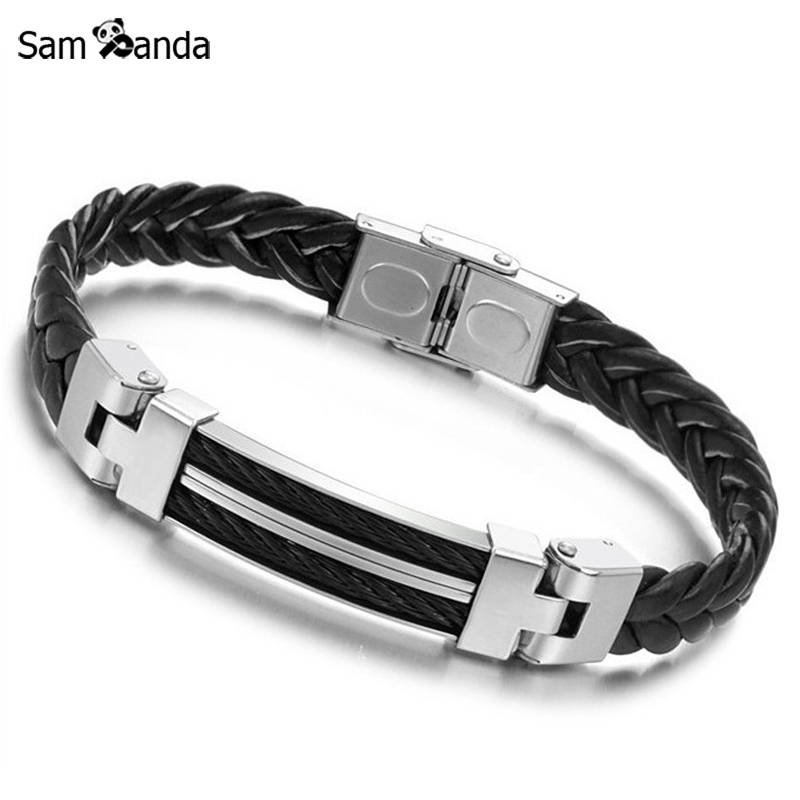 2017 New Arrival Mens Bracelets & Bangles Titanium Steel Silicone Rubber Bands Leather Bracelet Pulseira Men Jewelry YK2050
