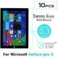 10 unids/lote para microsoft surface pro 3 12.0 pulgadas tablet hd protector de pantalla anti shatter vidrio templado película protectora de vidrio