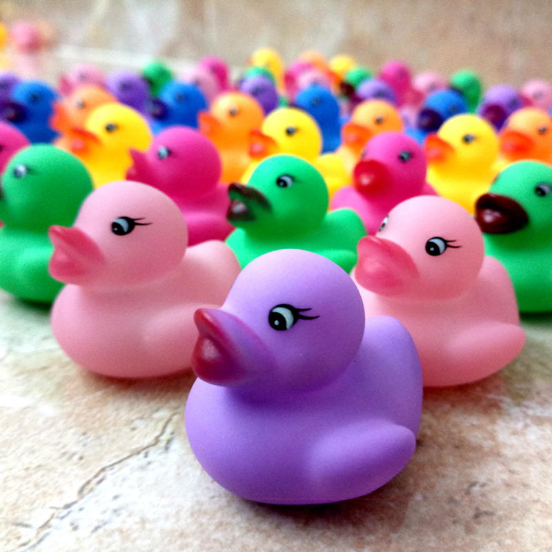 Bath Toy Rubber Duck Born Babies Swiming Bath Floating Latex Children Squeeze-sounding Dabbling Ducks Classic Toys 3.5cm*3.5cm