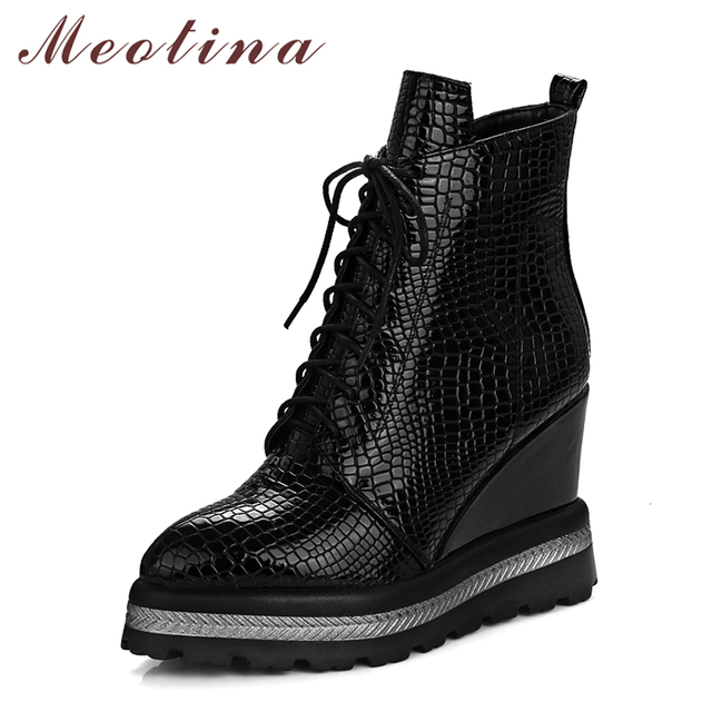 Meotina Women Ankle Boots High Heels Platform Female Autumn Boots Casual Wedge Heel Zipper Black Boot Women Big Size 33-42 Shoes