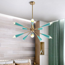 Postmodern Blue LED chandelier lighting Nordic Iron fixtures for living room restaurant bedroom loft hanging lamp