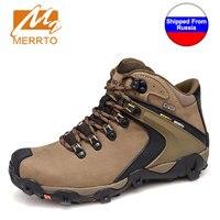 Ship From RU MERRTO Winter Cowhide Man Outdoor Hiking Shoes Fishing Athletic Trekking Boots Waterproof Climbing