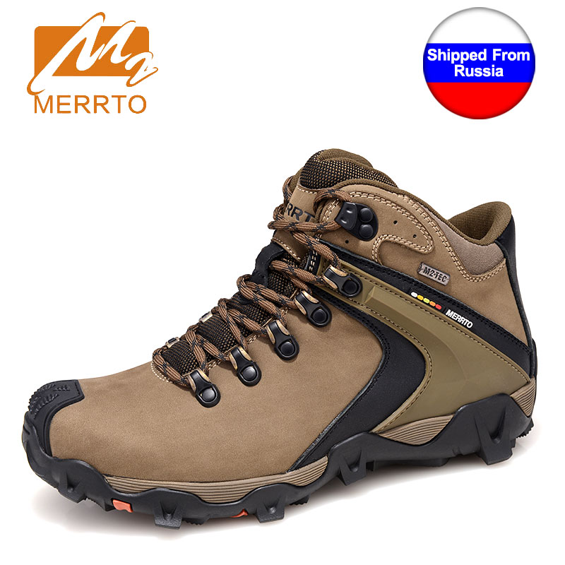 Ship from RU MERRTO Winter Cowhide Man Outdoor Hiking Shoes Fishing Athletic Trekking Boots waterproof Climbing Walking Sneasker yin qi shi man winter outdoor shoes hiking camping trip high top hiking boots cow leather durable female plush warm outdoor boot