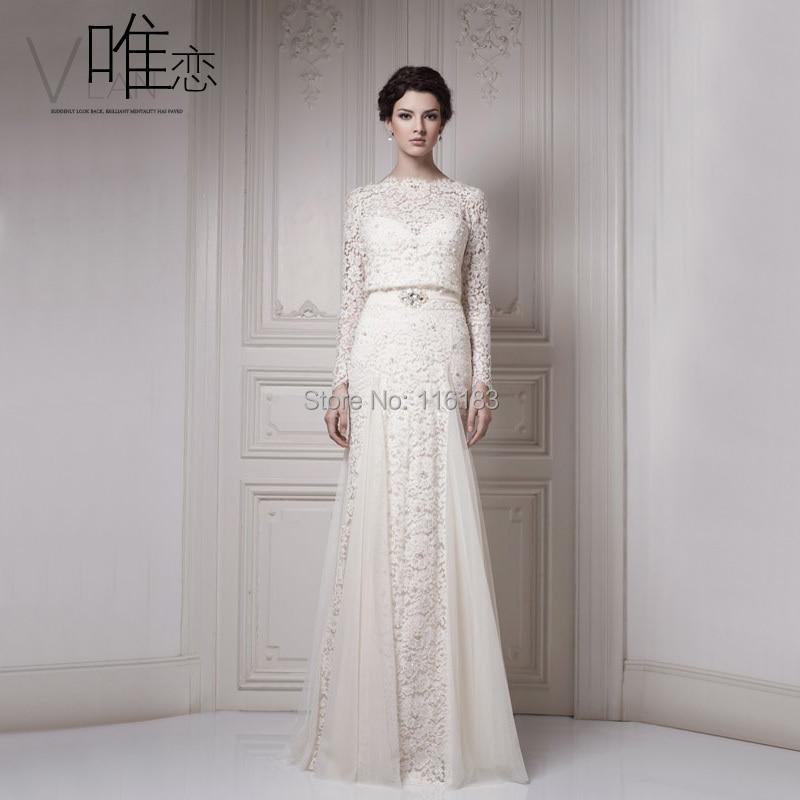 2016 white ivory vestidos vintage long sleeve length tube for Long sleeve slim wedding dresses