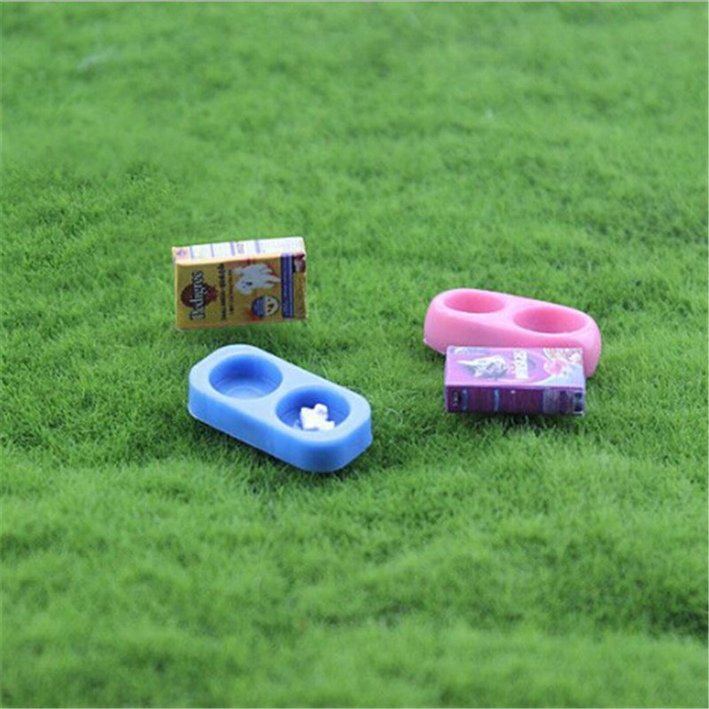 For Doll Accessories Decoration 1/12 Dollhouse Miniature Mini Dog Cat Pet Food With Plate Simulation Furniture Model Toys