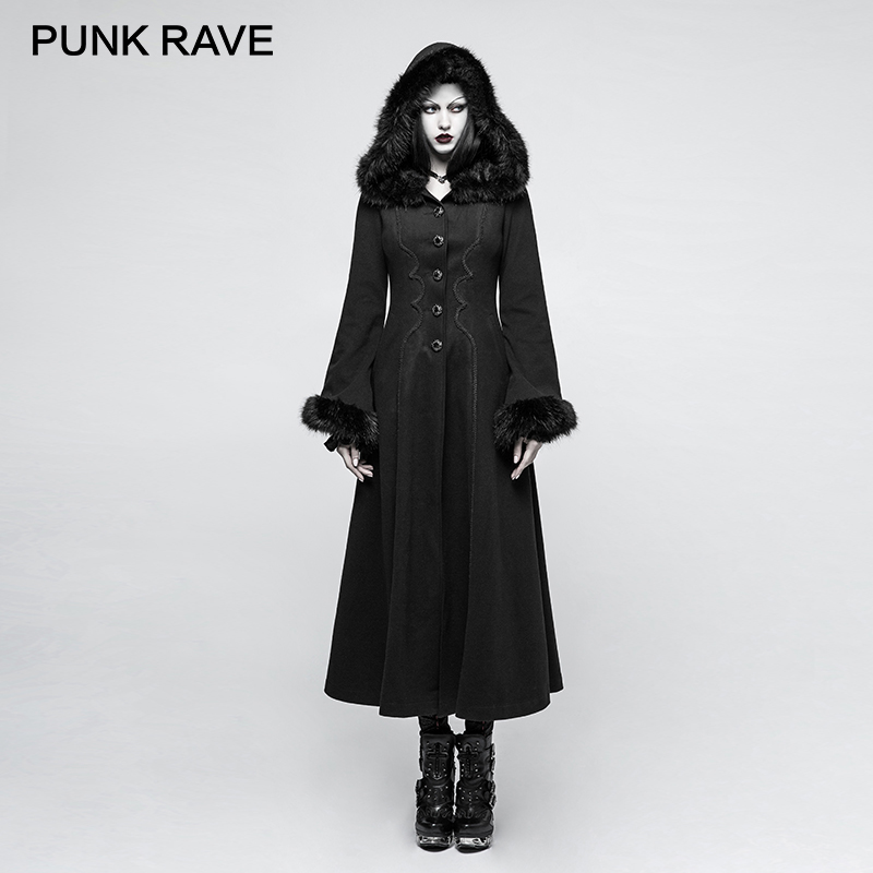 0b8c1e39e577a PUNK RAVE 2017 New Designs Gothic Winter Coat Women Black Disc Flowers Long  Worsted Hood Female Coats Embroidery Raincoat Autumn-in Wool   Blends from  ...