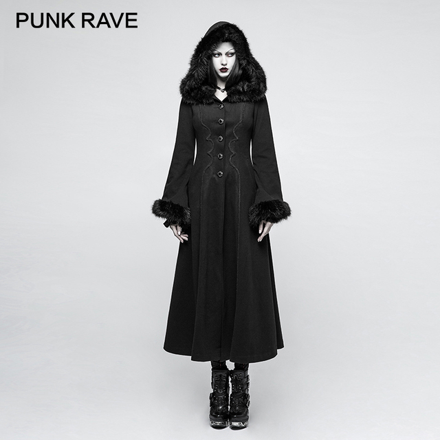 Punk Rave 2017 New Designs Gothic Winter Coat Women Black Disc Flowers Long Worsted Hood Female