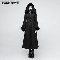 PUNK RAVE 2017 New Designs Gothic Winter Coat Women Black Disc Flowers Long Worsted Hood Female Coats Embroidery Raincoat Autumn