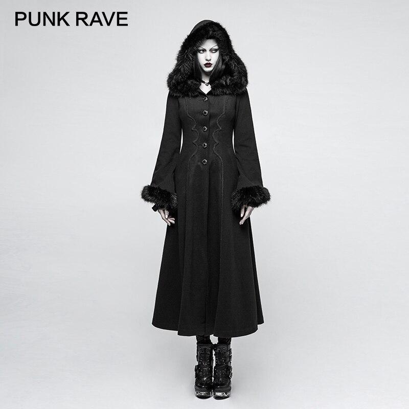 PUNK RAVE 2017 nouveaux Designs gothique hiver manteau femmes noir disque fleurs Long peigné capuche femme manteaux broderie imperméable automne