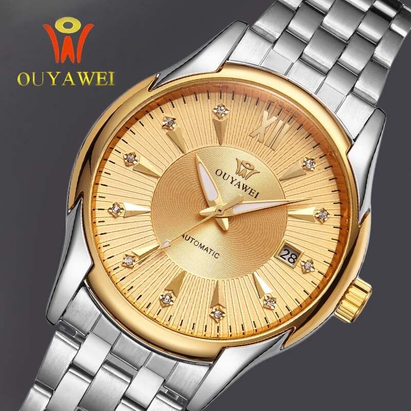 OUYAWEI Gold Men Skeleton Mechanical Watch mens automatic watch Steel strap Transparent Steampunk Montre Homme Wristwatch