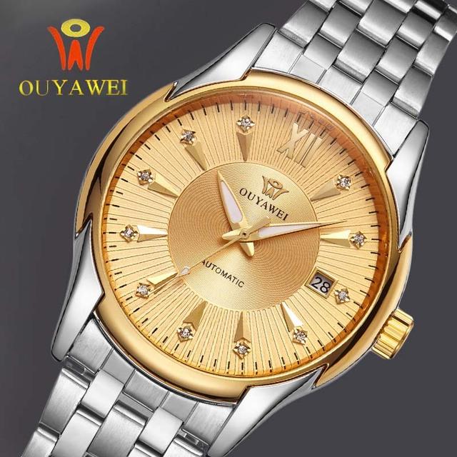 OUYAWEI reloj de Los Hombres Reloj Mecánico Esquelético de Oro reloj automático para hombre correa de Acero Transparente Steampunk Reloj Montre Homme