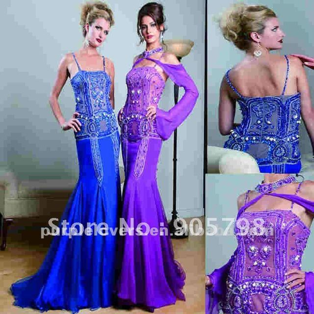 2012 Arabic style fan-shaped beaded long evening dress