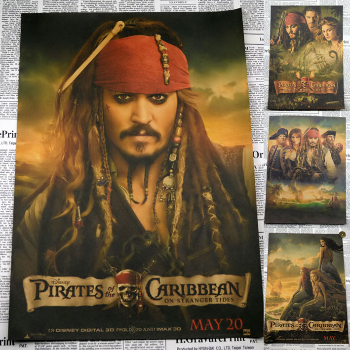 Retro Pirates Of The Caribbean Poster Home Decor Matte Kraft Paper Vintage Poster Captain Jack Posters 30*21cm