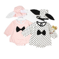Newborn Baby Girl Romper Printed Jump Suit 2Pcs Body Suit Cotton Hat 2017 Autumn Long Sleeve