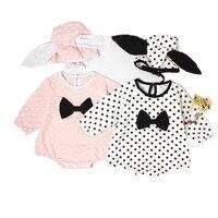 Newborn Baby Girl Romper Printed Jump Suit 2Pcs Body Suit Cotton Hat 2017 Autumn Long Sleeve
