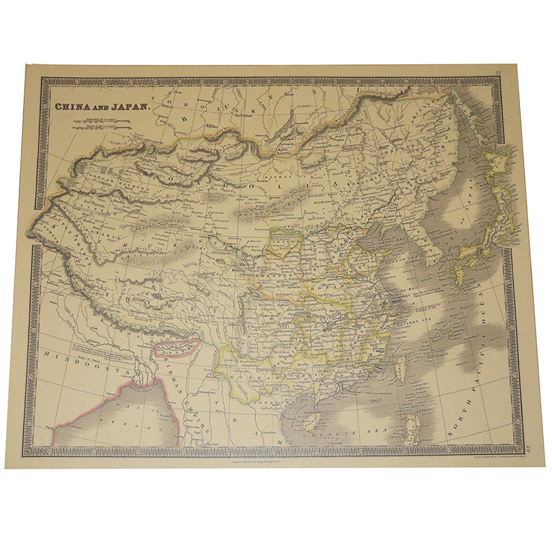 2 Pcs Map World English Version 63.5*51.5cm National Geographic Atlantic International Kraft Paper Poster Decorative Core